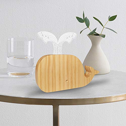 FULLOSUN Whale 3D Night Light, Ocean Gift Bedside Table Lamp, Solid Wood Nightstand Lamp, Bedside Desk Lamp for Kids Bedroom, Living Room, Coffee Table, Office, Dinning Table Sleep Smoother