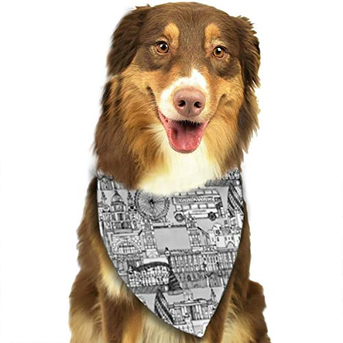 FRTSFLEE Dog Bandana London Toile Black White Scarves Accessories Decoration for Pet Cats and Puppies -