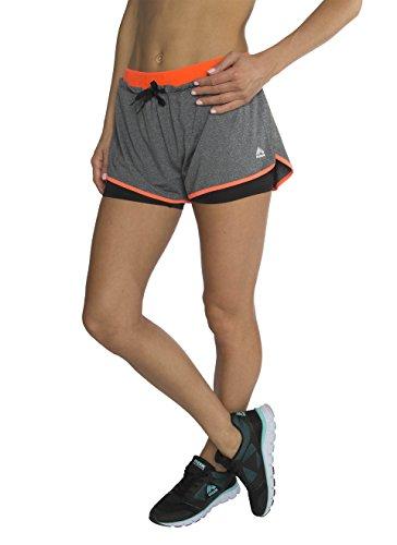 RBX Active Women's Jacquard Flutter Jersey Short w/ Bike Short,Charcoal / Peach Combo,X-Large