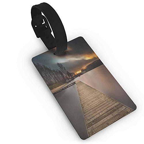 Luggage Tags with Privacy Cover,Landscape,Lake Landscape With Jetty Cloudy and Dramatic Sky Scene at Sunset Image,Suitcase Travel ID Bag Brown Bronze Black