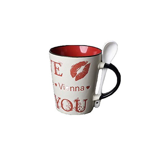 Creative Art Red Purple Hand-painted Cute Animals Lively Ceramic Milk Water Tea Ice Beer Cola Goblet Cup Glass Coffee Mug American Style with Tentacle Handle for Kids Girlfriend Home Office Decoration
