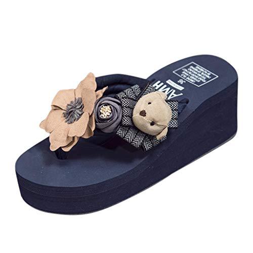 (Women Girls Cartoon Beach Slippers Floral Wedges Flip Flops Sandals Shoes)