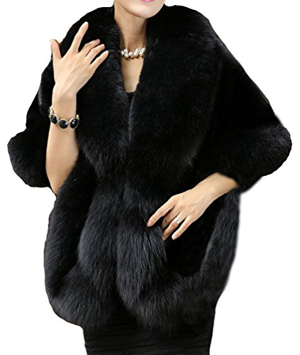- Helan Women's Soft Long Faux Fox Fur Shawl Black