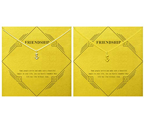 Gray Camel Friendship Anchor Necklace Friend Gift with Message Card Gift Card(2pack) (Gold Anchor and Silver Anchor)