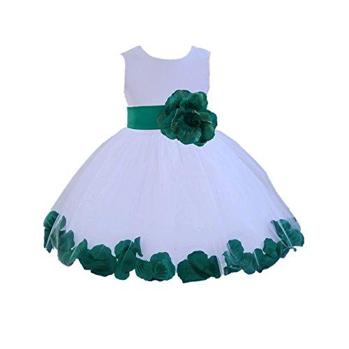 ekidsbridal Wedding Pageant Rose Petals White Flower Girl Dress Toddler Baptism 306s Green Flower Dress