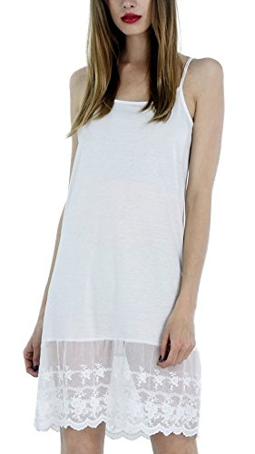 Melody [Shop Lev] Women's Adjustable Knit Layering Full Slip with Lace (Melody Lace)