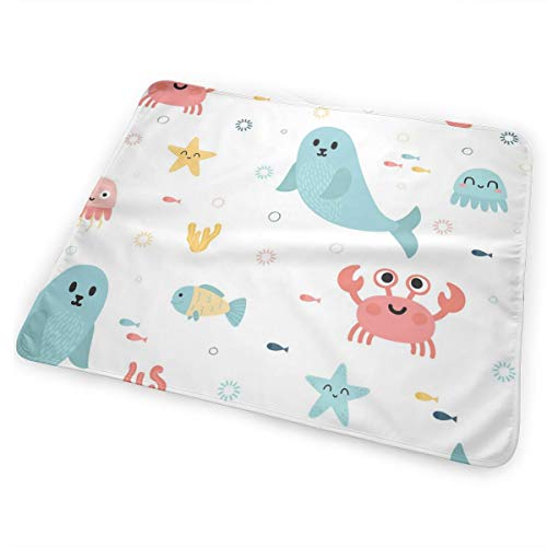 - Pamdart Jellyfish Crabs Sea Lions and Other Marine Life Customized Waterproof Leakproof Replacement Diaper Pad Reusable for Unisex Baby