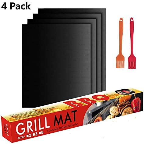 Antook Grill Mat Set of 4 100 Non-Stick BBQ Grill Mats Reusable Baking Mats,Easy to Clean,Heavy Duty,FDA-Approved Barbecue Grilling Accessories Work on Gas,Charcoal,Electric Grill and More.