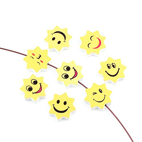 (Pukido White Wooden Beads 30pcs 22x20mm Sun Shape Smile Face Wood Beads for Jewelry Making DIY Rattle Pacifier Clip Necklace)