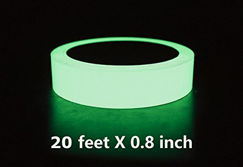 Glow in the Dark Tape - Luminous Photoluminescent / Luminescent Emergency Roll Safety Egress Markers Stairs, Walls, Steps, Exit Sign. Glowing Pro Theatre Stage Floor (20 ft X0.8 - Glow In Steps The Dark