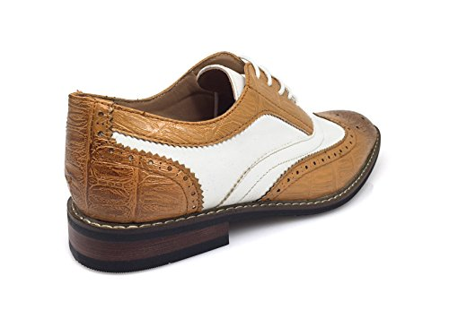 Men's Shoes Captoe Designer up Italy Oxfords Lace Conrad3 Shoes 2 Wingtip White tan Modern Dress Tone gEwqrgS