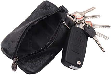 Funda de piel sint/ética para llaves con cremallera y monedero