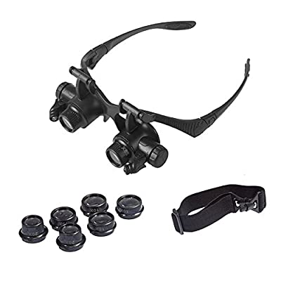 OrchidBest LED Illuminated Magnifying Glass Head-Worn Magnifying Eye Glasses Handsfree Reading Magnification Glasses PCB Magnifier Glasses Jewelry Magnifying Loupe