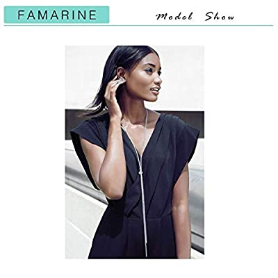 FAMARINE CZ Long Necklace, Rhinestone Bar Y Lariat Necklace Silver Tone for Women Birthday Gift