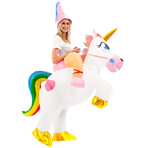 Kids Costume For Rent (Spooktacular Creations Inflatable Costume Unicorn Riding a Unicorn Air Blow-up Deluxe Halloween Costume - Adult)