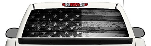 Perforated Window Graphics - Distressed Flag Black and White Perforated Truck Window Graphic 58x18 Inches