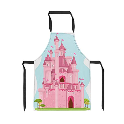 Pinbeam Apron Princess of Cute Pink Castle Palace Cartoon Clipart with Adjustable Neck for Cooking Baking Garden