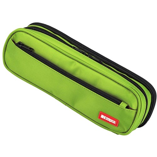 LIHIT LAB. Double Zipper Pen Case, 9.4 x 2.4 x 3 inches, Yellow Green (A7557-6) by LIHITLAB
