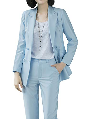 Women's Two Pieces Blazer Office Lady Suit Set Work Blazer Jacket and Pant (Blue, - Work Set