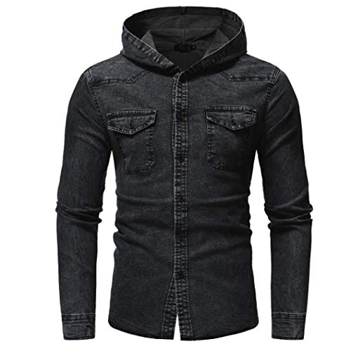 Winter Coat, baskuwish Men's Casual Denim Jacket Fashion Slim Fit Vintage Distressed Trucker Jacket (2XL, Black) -