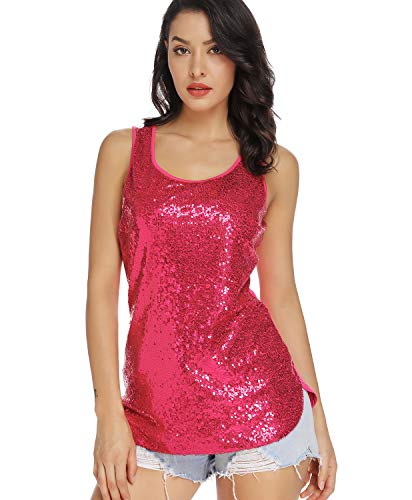 (MS STYLE Women's Sparkle Sequin Top, Sleeveless Round Neck Shimmer Camisole Vest Sequin Tank Tops for Women Rose)