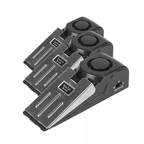 Mengshen 3-Pack de seguridad de la cuña de la puerta de detener la alarma de tapón de bloqueo de viajes de seguridad de la casa de alerta 120db ...
