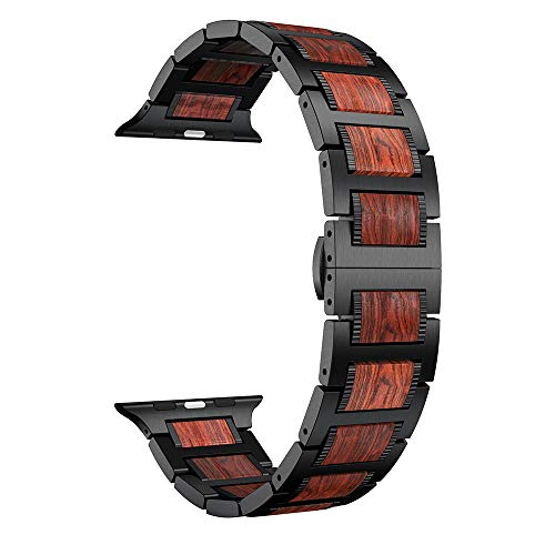 (LDFAS Compatible Apple Watch Band 44mm/42mm, Natural Wood Red Sandalwood Black Stainless Steel Metal Link Bracelet Strap Compatible Apple Watch Series 4/3/2/1)