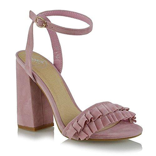 Essex Glam Donna Grosso Tacco A Spillo Fibbia Cinturino Alla Caviglia Faux Suede Volant Peep Toe Sandali Rosa Finta Pelle Scamosciata