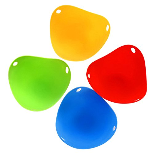 Neobang 4Pcs Egg Poacher Cups Silicone Egg Cooker Set Poaching Pods BPA Free Kitchen Tools Accessories