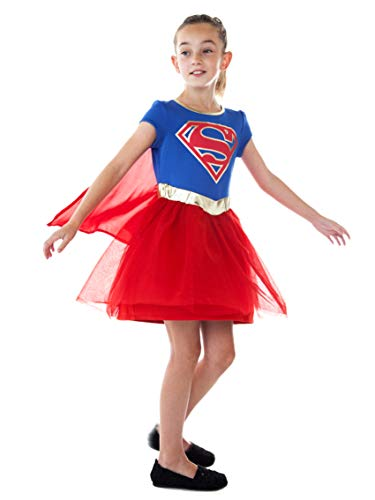 DC Comics Girls Costume Dress Cape Sparkle Tulle Skirt (Supergirl, Large)