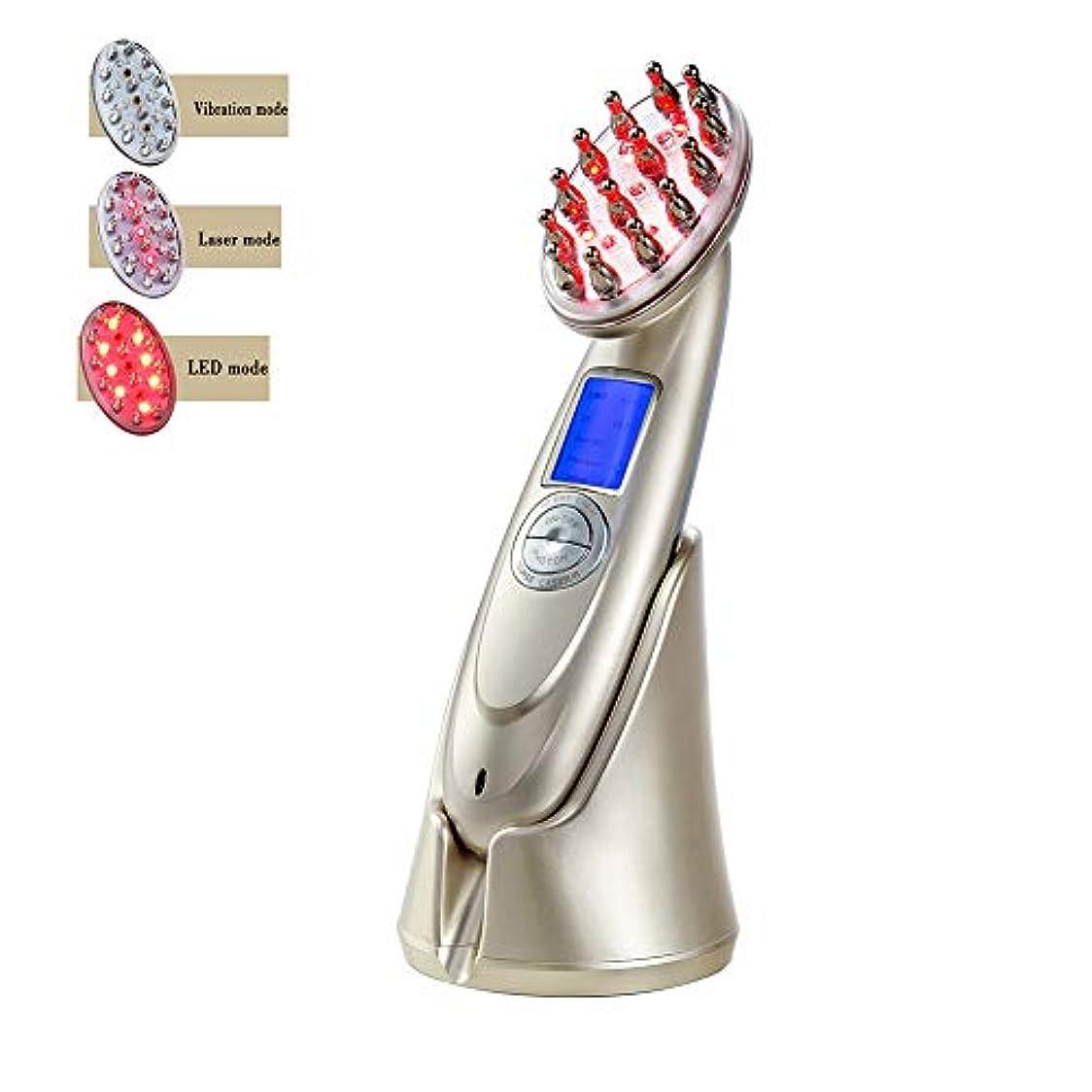 プロフェッショナルコードレス取り付けプロの電気髪成長レーザー櫛 RF EMS LED 光子光療法ブラシ抗脱毛治療マッサージヘア再生ブラシ