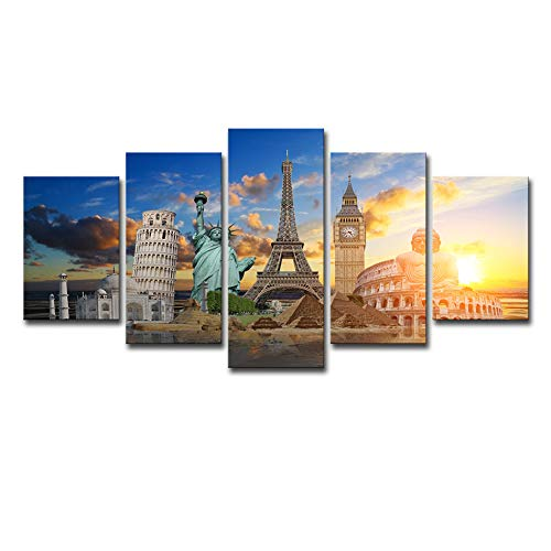 (Canvas Prints Building Eiffel Tower,London Big Ben,Leaning Tower of Pisa,Statue of Liberty Theme Landscape Modern Wall Art for Home Room Office Print Decor,A,30x45x2+30x60x2+30x75x1)