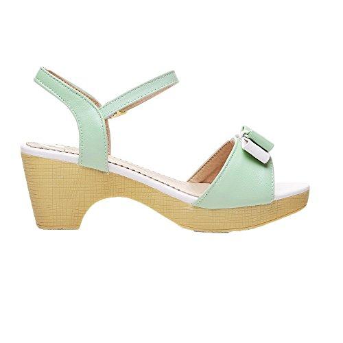 AalarDom Womens Buckle Open-Toe Kitten-Heels PU Solid Sandals Green(6cm) xcOMbFbdF