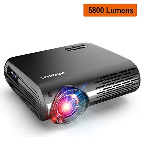 "WiMiUS Upgrade 5800 Lumens LED Projector Native 1920×1080 Video Projector Support 4K Dolby Netflix 300"" Display, with 4D ±50°X & Y Keystone Correction, Zoom Function for Movies and PPT Presentation"