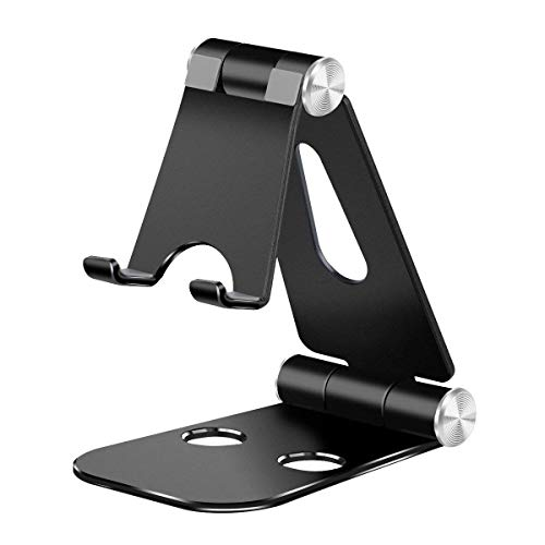 Tablet Stand Phone Stand,YBHMO Aluminum 270 Degree Multi-Angle Foldable Cell Phone Tablet Video Game Stand Holder Dock Compatible with for iPhone/Ipad/Laptops,ect (Black)