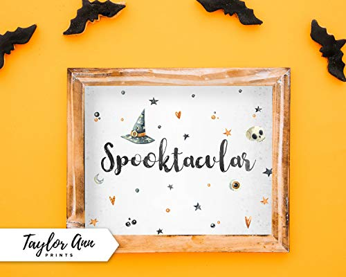 MaxwellYule Spooktacular 8x10 Halloween Witch Home Decor Printable Watercolor Artwork Wall Decor DIY Quote Front Entryway Home Decor