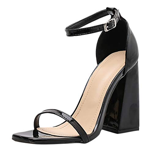 Women's Strappy Chunky Block High Heel - Formal, WeddingSharemenParty Simple Classic Pump(Black,US: 7.5) by Sharemen Shoes (Image #7)