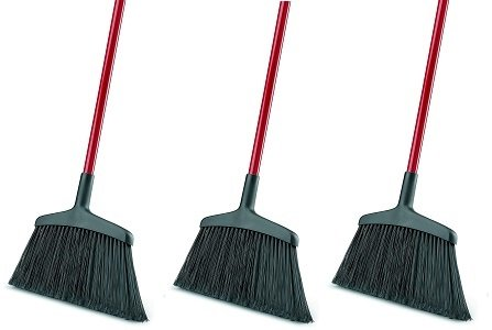 Libman Commercial 997 Wide Commercial Angle Broom, 55'' Length, 15'' Width, Black/Red (Pack of 6) (3-(Pack of 6))