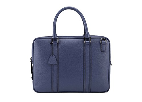 Haagendess Brand Briefcase Men's Genuine Leather Full-Grain Leather Bag (Blue) by haagendess