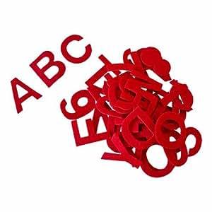 "Felt Alphabet Stickers 2"" Thick: 81 PCS, Red"