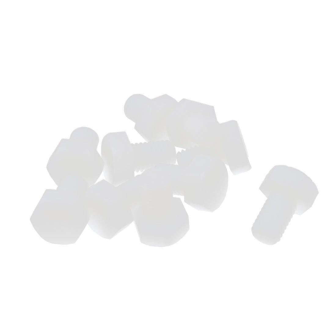 sourcingmap 10 Pcs M10 x 15mm T/ête Hexagonal Nylon Vis Filetage Boulon