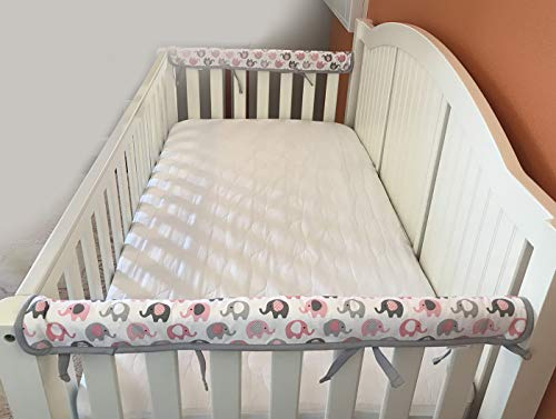 Effe Bebe Reversible Crib Rail Cover - Breathable 200 Count Cotton on face, 100% Cotton Velour Backing, 2PC/Set, Narrow Short Petal Grey