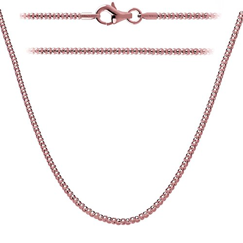 Rose Gold Plated 1.6mm Italian Sterling Silver Popcorn Chain Necklace 24