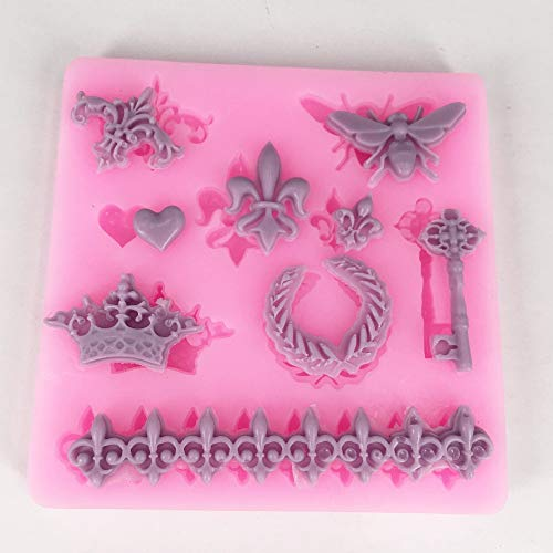 ower Key Silicone Mold Cookie Fondant Cake Mold Embossed Chocolate Mould DIY Candy Decoration Kitchen Baking Tool ()