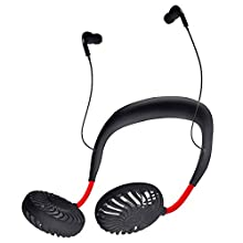 Sports Fans with Earbud Earphone Connect Phone with Bluetooth 2020 New Mini Fans Hand Free Neck Fans Necklace Wearable Sports Fan Outdoor Fans 8 Hours LED Personal Fans 3-Speed (Black)