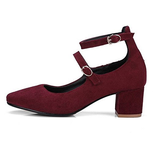 SJJH Women Court Shoes with Rounded Toe and Chunky Heel/Marry Jane Shoes with Large Burgundy CasQOv