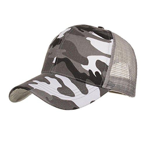 f3b4fc3e Sunyastor Summer Cap Camouflage Mesh Hats for Men Women Casual Hats Hip Hop  High Bun Ponytail Adjustable Baseball Caps (Gray, One Size)