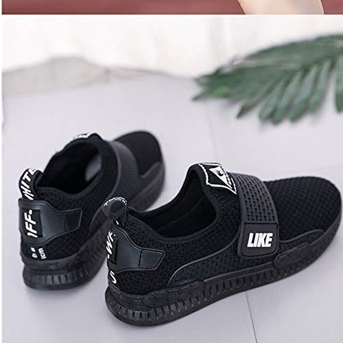 rotonda Red autunno Scarpe nero donna ZHZNVX rosso Mesh da punta sneakers tacco comfort piatto wvxdfR