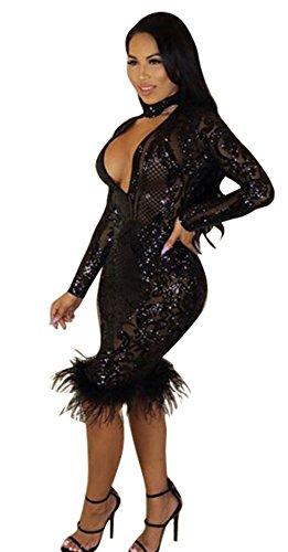V-Neck Sequin Dress - 1