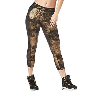 Zumba Fitness Wide Jacquard Waistband Workout Print Capri Leggings for Women, Black B2B, XS